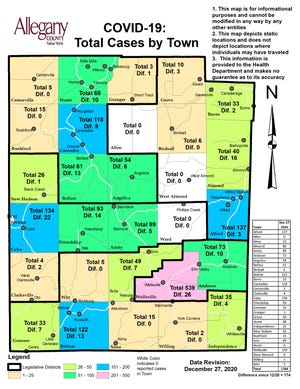 Allegany County breaks down case increases from Dec. 20-27.