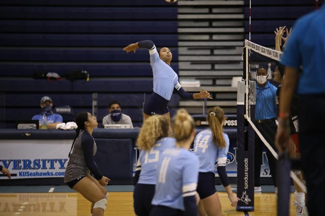 Keiser University senior outside hitter Paige Leffler, a graduate of Fort Madison High School, helped the Seahawks to an undefeated conference season.