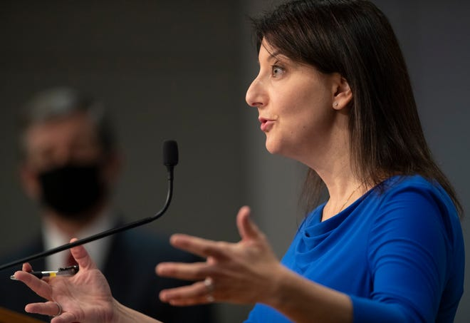 Dr. Mandy Cohen, secretary of the N.C. Department of Health and Human Services, discusses vaccine distribution during a press briefing about the coronavirus Wednesday, Dec. 30, 2020 at the Emergency Operations Center in Raleigh. (Robert Willett/The News & Observer via AP)