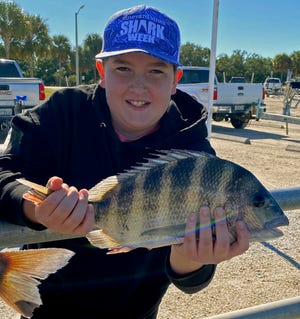 Reed Frankos, 13, of Maryland smiles as he shows off a keeper size sheepshead he caught while fishing around the mouth of the Manatee River with Capt. Rick Gross of Bradenton this week.