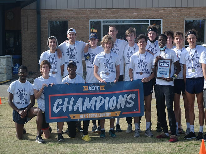 Shown is the University of Saint Mary men's cross country team following its eighth consecutive Kansas Collegiate Athletic Conference championship in November 2020.