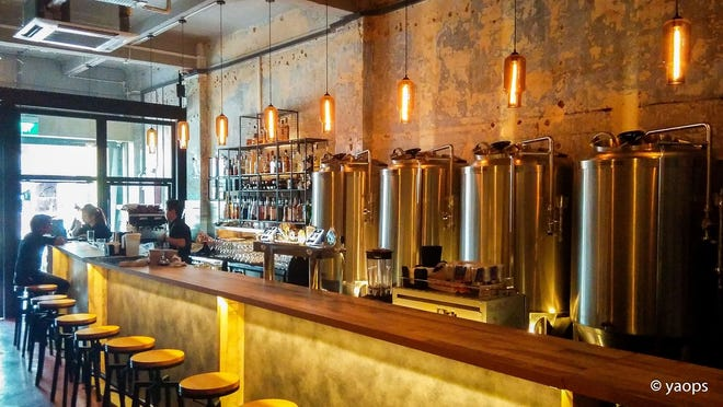 The concept for Pointer Place microbrewery in Van Buren includes brewing equipment visible behind the serving area. Quentin Willard, a Van Buren native who started Fort Smith Brewing Company, hopes to have Pointer Place open in mid-May.