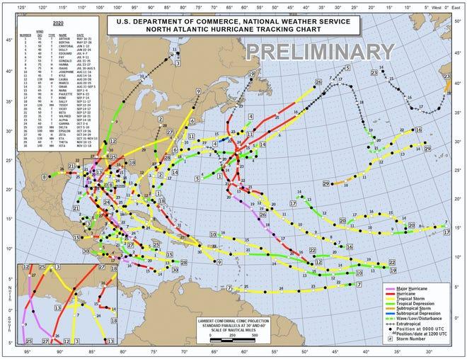 Storm tracks from the 2020 hurricane season.