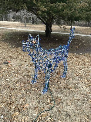 This blue-lit wolf display from the Lemon Park Lights collection was returned Monday, December 28, as The Pratt Tribune was investigating stolen displays. It was stolen a previous year and returned by someone who found it in their basement, according to Deb Goyen, Lemon Park Lights organizer.