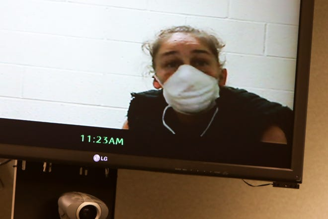 Defendant Julianne Shead, 41, appears before Municipal Court Judge Melissa Roubic for her arraignment via remote video on Wednesday, December 30, 2020.