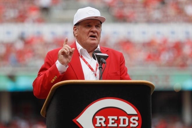 In this June 17, 2017, file photo, former Cincinnati Reds player Pete Rose speaks during his statue dedication ceremonies before a baseball game between the Reds and the Los Angeles Dodgers in Cincinnati.