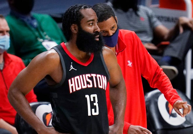 Rockets star James Harden and coach Stephen Silas.