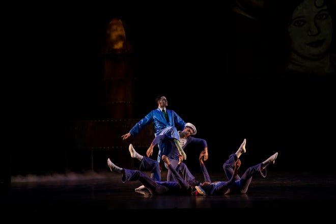 "Ivan Spitale, standing, in a Sir Matthew Bourne's ""The Infernal Galop,"" part of The Sarasota Ballet's third digital program."