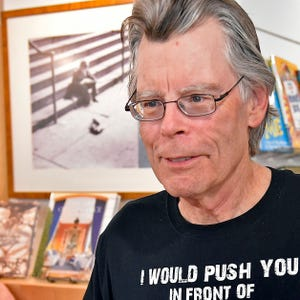 Stephen King, who lives in Maine and Casey Key in Sarasota County, is seen here at Bookstore1Sarasota for a sold-out book signing in 2017. The author recently took to social media to criticize Gov. Ron DeSantis.