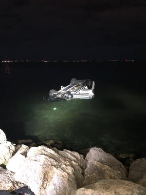 A car crashed into Sarasota Bay on Dec. 29, 2020, in Sarasota.