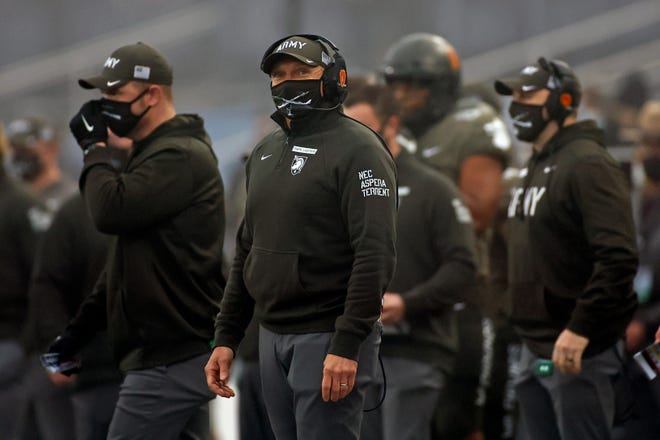 Army head coach Jeff Monken looks on against Navy during the first half on Dec. 12, 2020 in West Point, N.Y., in the 121st playing of the Army-Navy game.