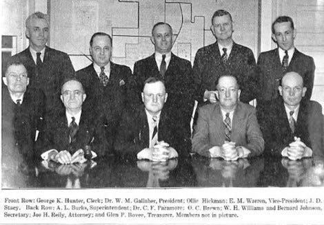 In the fall of 1937, the SHS Board of Education kept the schools running efficiently. (l-r) SEATED: George K. Hunter, clerk; Dr. W.M. Gallaher, president; Ollie HIckman; E.M. Warren, vice-president; & J.D. Stacy. STANDING: Superintendent A.L. Burks; Dr. C.F. Paramore; O.C. Brown; W.H. Williams; & Bernard Johnson, secretary. Not pictured were Joe H. Reily, attorney; & Glen Bovee, treasurer.