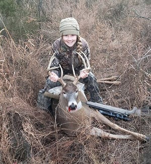 Seaman High School junior Mackenzie Doud, 16, of Topeka, shot her first deer on the last day of the Kansas regular deer season Dec. 13, 2020, in northeast Shawnee County.