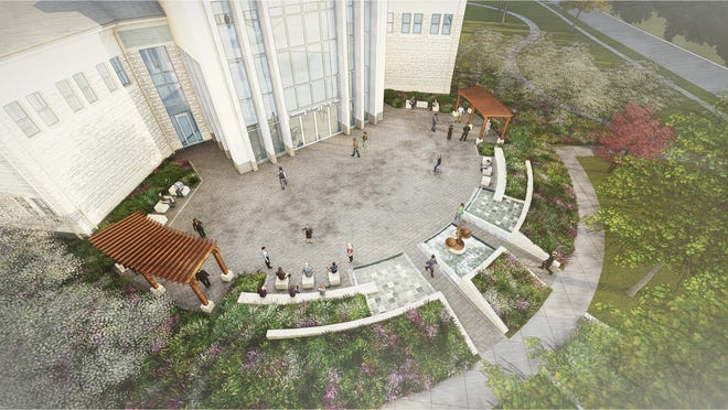 Following the completion of a $1 million matching gift challenge from alumni Mark and Lisa Heitz, Washburn University will name an outdoor entertaining space outside its planned School of Law building the Senator Robert J. Dole Plaza, shown in this artist's rendering, in honor of the retired U.S. congressman. Construction on the $33 million project is set for May 2021.