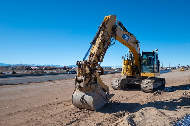 Construction equipment sits near the intersection of U.S. Highway 50 and Purcell Blvd in Pueblo West where the interchange project is underway on Wednesday December 30, 2020.