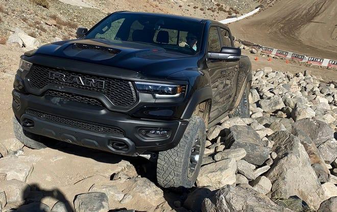 The 2021 Ram 1500 TRX pickup in rock climbing mode.