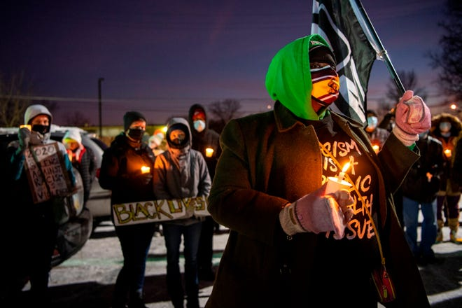 A vigil is held for Andre' Hill on Saturday at the Brentnell Community Recreation Center on Columbus. Ohio.