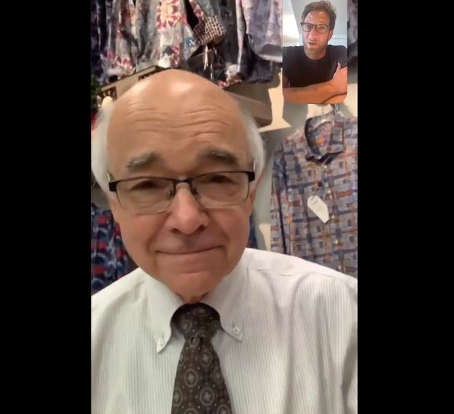 James Siebert, of Siebert's Clothing in Jasper, speaks to Barstool Sports founder Dave Portnoy on a Facetime call Tuesday. Portnoy pledged that some funds from the Barstool Fund, used to help support small businesses in the wake of the COVID-19 pandemic, would go to support Siebert's.