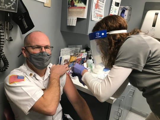 Sandusky County EMS Director Jeff Jackson was among the first people in the county to get a Moderna vaccine shot in December, as the county's health department received about 200 doses in its initial shipment.