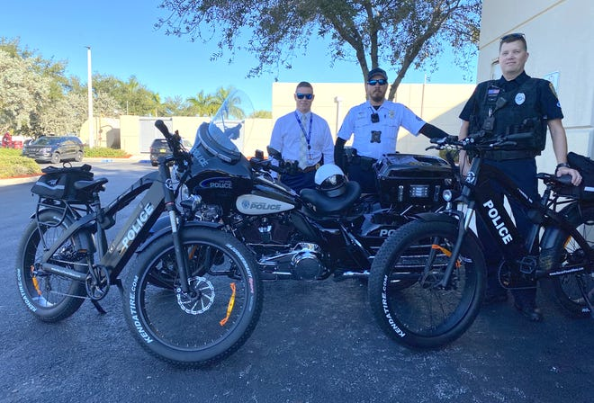 The Cape Coral Police Department is running a test drive on an electric mountain bike to be used for patrol purposes. From left, Cape Coral Master Sgt. Patrick O'Grady, Master Cpl. Chad Hartzell, and officer Charles Mills.