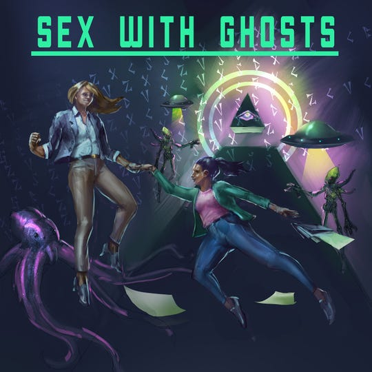 "Logo for the podcast ""Sex with Ghosts."""
