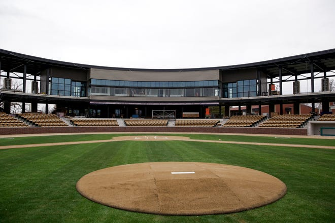 A look at the press box and grandstands from the pitchers mound inside Loeb Stadium as construction continues on the new stadium, Tuesday, Dec. 29, 2020 in Lafayette.