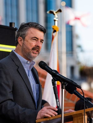 Alabama Attorney General Steve Marshall speaks as the Alabama Sheriffs Association unveils a memorial wall, honoring Sheriffs that were killed in the line of duty, in Montgomery, Ala., on Wednesday December 30, 2020.