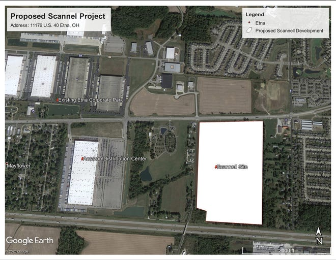 This graphic depicts the planned development site (lower right) at Tollgate Road and U.S. 40 in Etna Township.