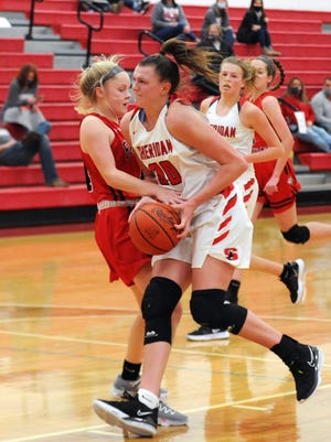 Sheridan's Faith Stinson gets fouled by Fairfield Union's Brenna Reed during the second quarter of Tuesday's nonleague game at Glen Hursey Gymnasium. The Generals won the battle of unbeatens, 51-22.