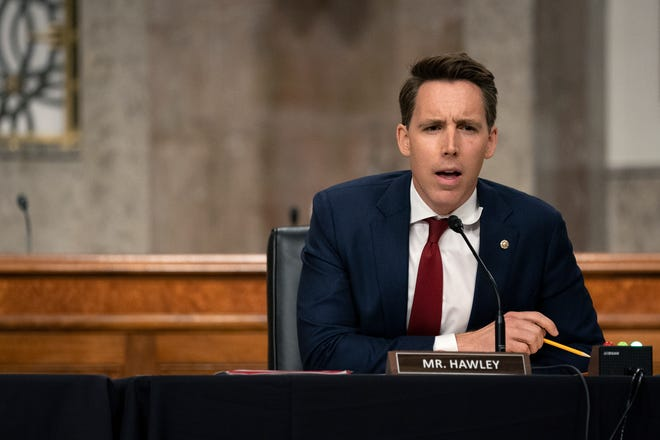 """Sen. Josh Hawley, R-Mo., speaks during a Senate Judiciary Committee hearing on Capitol Hill in Washington, Wednesday, Sept. 30, 2020, to examine the FBI """"Crossfire Hurricane"""" investigation."""