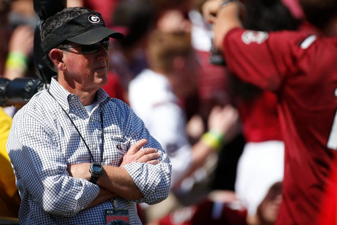 Georgia athletic director Greg Mcgarity looks on before the start of an NCAA college football game between Georgia and South Carolina at Williams-Brice Stadium in Columbia, SC. Saturday, Sep 8, 2018. [Photo/Joshua L. Jones, Athens Banner-Herald]