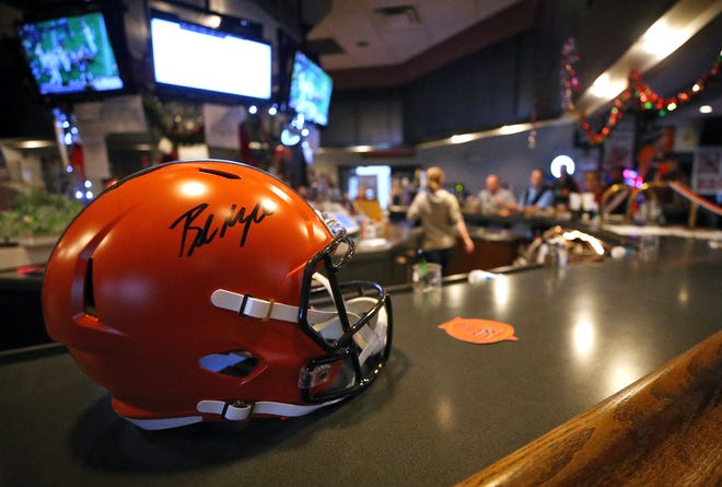 The Browns Backers at American Legion Post 496 are auctioning off a helmet signed by quarterback Baker Mayfield.