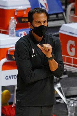 Miami Heat head coach Erik Spoelstra watches during Friday's game against the New Orleans Pelicans in Miami.