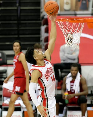 Ohio State Buckeyes forward Justice Sueing (14) makes a layup during the first half of Wednesday's NCAA Division I basketball game against the Nebraska Cornhuskers at Value City Arena in Columbus, Oh. on December 30, 2020.