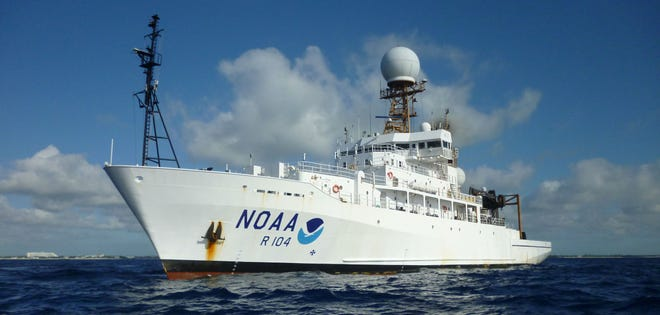 The two new ships, Oceanographer and Discoverer, will join NOAA's fleet, which includes the Ronald H. Brown (pictured), the federal agency's largest research vessel.