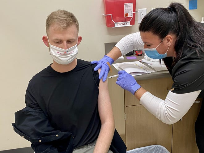 Hy-Vee partnered with the Dallas County Health Department to administer its first doses of the COVID-19 vaccine to frontline health care workers in Iowa on Dec. 30 at the Waukee Hy-Vee.