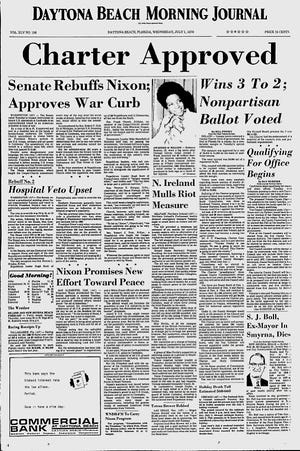 The Daytona Beach Morning Journal front page after the Volusia County Charter vote in 1970. The newspaper's editorial page strongly advocated for charter government.