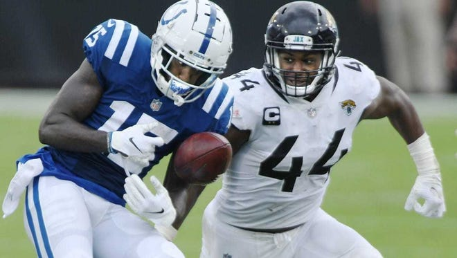 Jaguars middle linebacker Myles Jack (44) covers Indianapolis Colts wide receiver Parris Campbell (15) on an early second-quarter pass play in their season-opening game on Sept. 13.