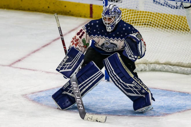 Icemen goaltender Eamon McAdam ranks second in the ECHL in shots faced.