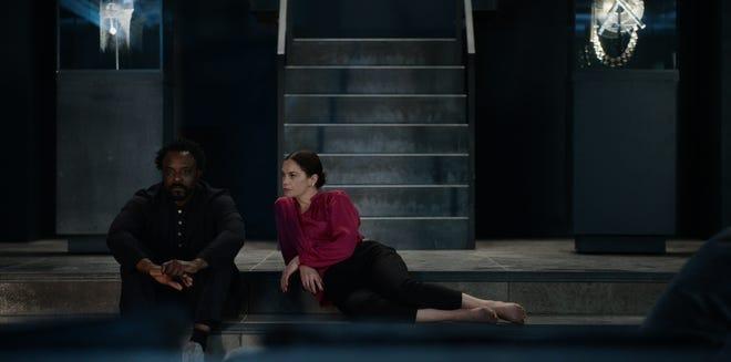 "Ariyon Bakare, left, and Ruth Wilson in ""His Dark Materials."""