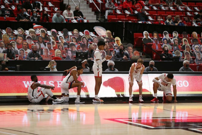 The Texas Tech starting five waits to re-enter in the second half of a nonconference game Tuesday against Incarnate Word at United Supermarkets Arena. [Michael C. Johnson/USA TODAY Sports]