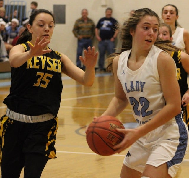 Keyser's Summer Reid defends Frankfort's Halley Smith in last season's girls' basketball action at Frankfort.  Gov. Justice announced this week that winter sports cannot begin in West Virginia until March 1.