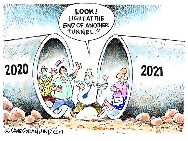Dave Granlund cartoon on the transition from 2020 to 2021