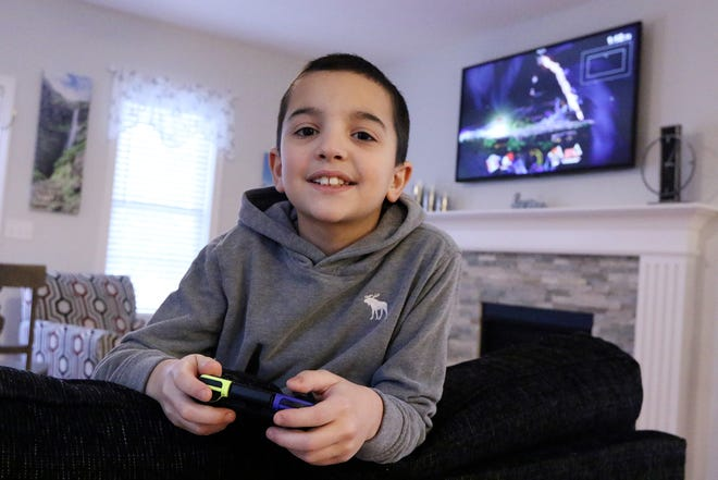 """Fifth-grader and gamer Giovanni """"Gio"""" Caruso, 10, takes a break from playing the video game """"Super Smash Bros."""" He has played in the Central Massachusetts Recreation and Parks Association eSports League, which includes Leominster."""