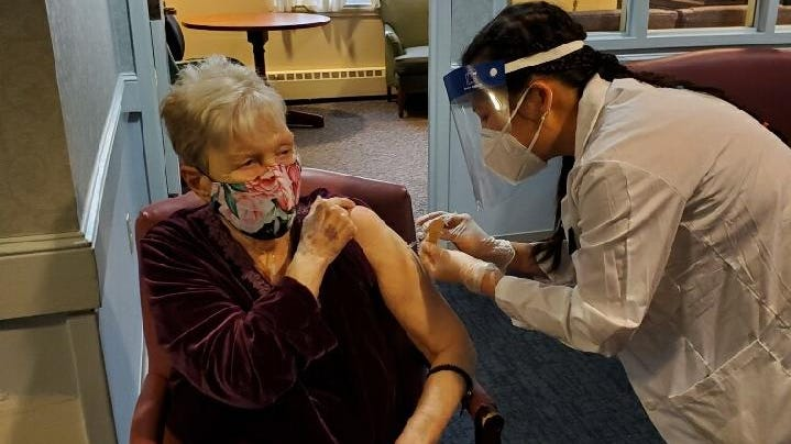 Nursing home staff, residents receive first of two COVID inoculations