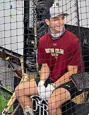 Cody Morissette, a junior at Boston College, laughs as he awaits his next round of batting practice at Powerhouse Sports in Seabrook. Morissette is one of a handful of Seacoast area kids who are playing Division I college baseball that have been working out at Powerhouse Sports and 603 Evo in preparation for their upcoming seasons.