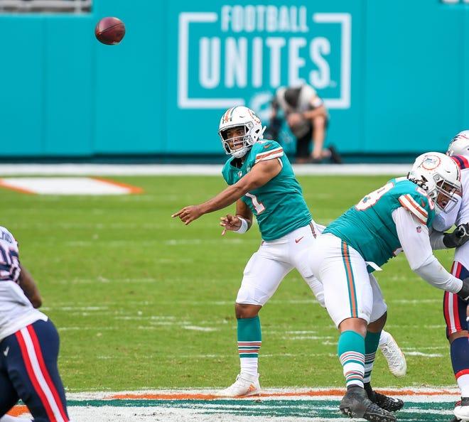 Dolphins quarterback Tua Tagovailoa throws against the Patriots on Dec. 20 at Hard Rock Stadium.