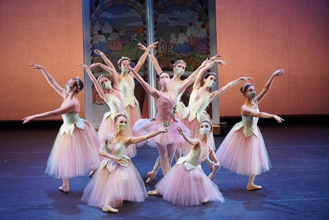 """Anna Lisa Wilkins, center, as Dew Drop with the Festival Ballet Providence Company in """"Waltz of the Flowers"""" from """"The Nutcracker."""""""