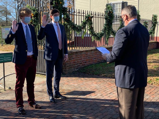 On Dec. 22 against the backdrop of Tryon Palace, the New Bern Chapter inducted a father and son into the Sons of the American Revolution - Stephen and Whit Nuckolls. Their Patriot Ancestor is Lewis Hale who served in the Virginia militia and fought at the battles of King's Mountain and Guilford Courthouse. Pictured from left to right: Whit Nuckolls, Stephen Nuckolls, and Jay DeLoach, New Bern Chapter president. [CONTRIBUTED PHOTO]