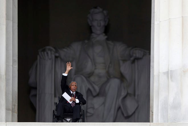 The Rev. Joseph Lowery speaks at the 50th anniversary of the March on Washington where Martin Luther King Jr. spoke, at the Lincoln Memorial in Washington. Lowery, a veteran civil rights leader who helped King found the Southern Christian Leadership Conference and fought against racial discrimination, died March 27, 2020. He was 98.
